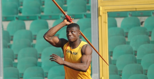 John Ampomah has set a new national javelin record after throwing 76.50m to comfortably win his third outdoor competition in Auburn- Alabama.