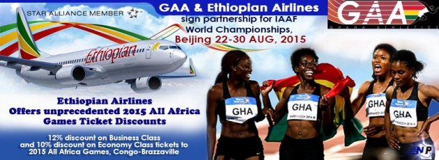 The Ghana Athletics Association and Ethiopian Airlines have signed an agreement to provide media coverage for the 2015 IAAF World Championships in Beijing, China from 22nd August to 30th August.